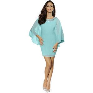 Abendkleid, Alba Moda, blau, Schmuckdetails entlang des Ausschnitts