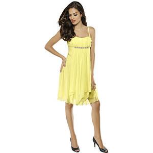 Chiffonkleid, Alba Moda, gelb, Exklusives Zierperlen-Detail unter der Brust