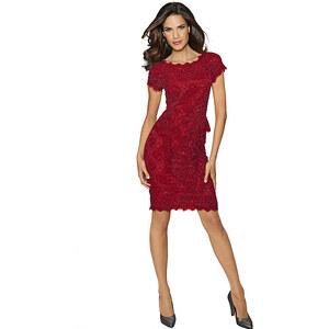 Spitzenkleid, Alba Moda, rot, Viskose-Mix, Kurzärmeliges Kleid aus zarter Spitze