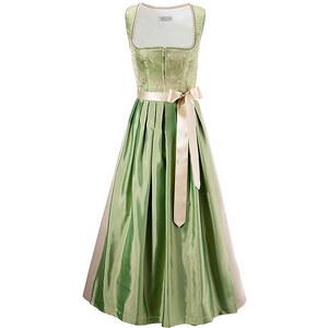 Dirndl lang,bestickt, Hannah, grün, 100% Baumwolle, Dirndl in edler Farbkombination