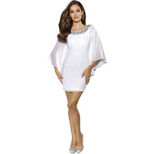Abendkleid, Alba Moda, weiß, Schmuckdetails entlang des Ausschnitts