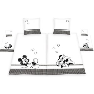Partnerbettwäsche, Walt Disney, »Mickey & Minnie«, 4-teiliges Set