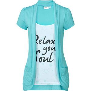 bpc bonprix collection T-shirt style 2en1 bleu manches courtes femme - bonprix