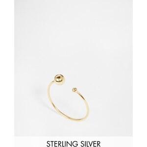 ASOS - Bague fine ouverte en argent massif plaqué or avec perle - Doré