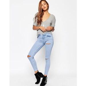 ASOS - Lisbon - Knöchellange, mittelhoch geschnittene Skinny-Jeans mit Rissen an Oberschenkel und Knie