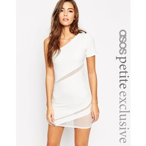 ASOS PETITE - Figurbetontes Kleid aus Netzstoff mit One-Shoulder-Träger - Weiß