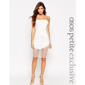 ASOS PETITE - Hochwertiges, figurbetontes Kleid aus Neopren im Bandeaustil - Weiß