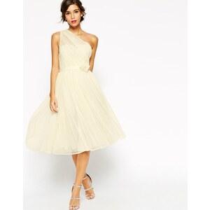 ASOS WEDDING - One Shoulder-Corsagenkleid aus Netzstoff - Weiß