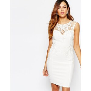 Michelle Keegan Loves Lipsy - Figurbetontes Kleid mit Applikation - Weiß