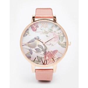 Olivia Burton - Wondland - Leder-Armbanduhr mit Blumen und übergroßem Ziffferblatt - Rosa
