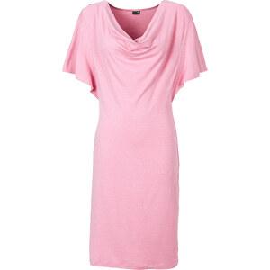 BODYFLIRT Shirtkleid/Sommerkleid 3/4 Arm in rosa (Wasserfall-Ausschnitt) von bonprix