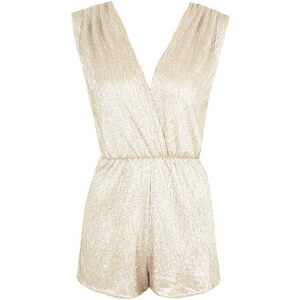 Topshop **Wickel-Playsuit mit Metallic-Effekt von Rare - Gold