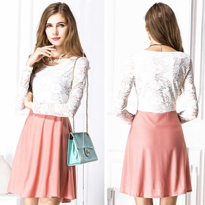 Lesara Kleid mit Spitze - Rosé - XL
