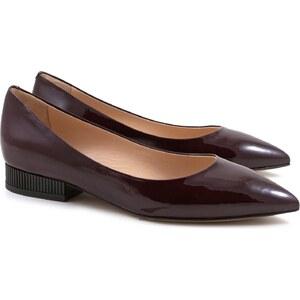 Leonardo Shoes Moccasin femmes en verni bordeaux avec talon de 3 cm