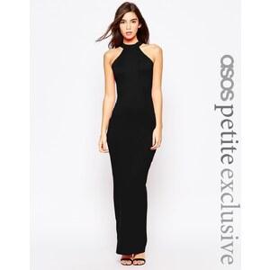 ASOS PETITE - Maxi robe style 90's à encolure montante et dos échancré - Rouge