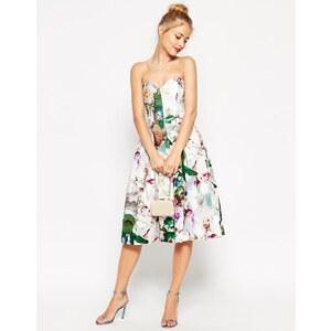 ASOS - Trägerloses, knielanges Ballkleid mit hübschem Rosenmuster