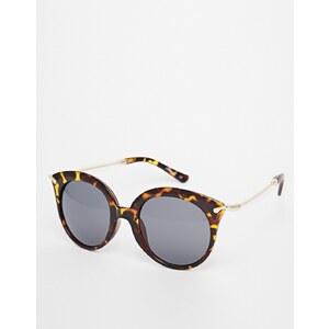ASOS - Runde Sonnenbrille mit kantigem Bügeldesign - Schildpatt