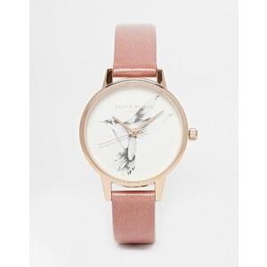 Olivia Burton - Humming Bird - Armbanduhr mit hellbraunem Lederband und mittelgroßem Zifferblatt - Bronze