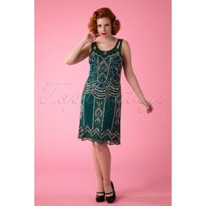 Frock and Frill 20s Ziegfeld Flapper Dress in Emerald Green