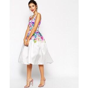 ASOS - Ausgestelltes Ballkleid mit wunderschönem Blumen-Print - Mehrfarbig