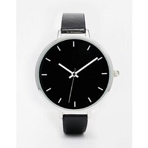 ASOS - Elegante Uhr mit großem Zifferblatt in Schwarz-Weiß - Schwarz