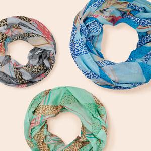 Lesara Damen-Seiden-Loop-Schal mit Animal-Print - Grau
