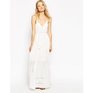 ASOS - Maxi robe avec empiècement brodé et franges - Blanc