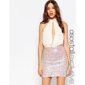 ASOS TALL - Mini robe en sequins à décolleté plongeant - Multi
