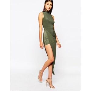 Club L - Hautenges Kleid mit hohem Kragen und asymmetrischem, gerafftem Saum - Olivgrün