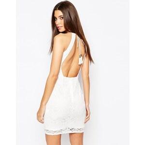 Oh My Love - Robe moulante dos nu en dentelle avec détail franges - Crème