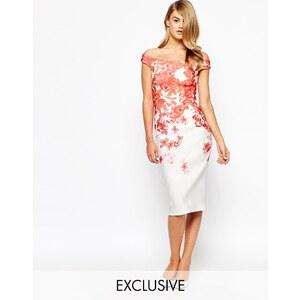 True Violet - Robe fourreau style Bardot à imprimé floral en dégradé - Rouge