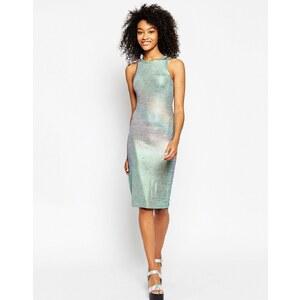 ASOS - Figurbetontes Kleid in Metallic-Optik - Silber