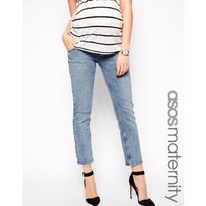 ASOS Maternity - Kimmi - Boyfriend-Jeans in Hampton-Waschung mit Abnutzungen und Bund unter dem Bauch - helle Waschung