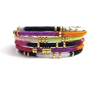 Celine H2o Bracelet Manchette en Cordes Multicolores et Laiton Doré Eden