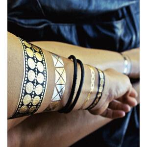 Flash Tattoos Tatouages Temporaires Noirs Et Dorés Style Rock - Nikki