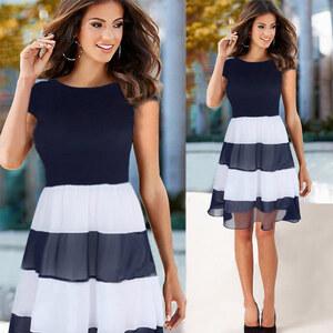 Lesara Chiffon-Kleid mit gestreiftem Rockteil - Weiß-Blau - S