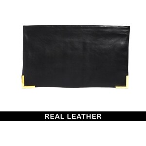 ASOS Leather Clutch Bag With Metal Corners And Zip Top