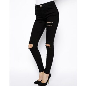 ASOS Ridley High Waist Ultra Skinny Jeans in Clean Black with Thigh Rip