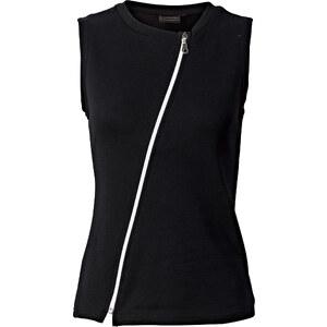 RAINBOW Top zippé noir sans manches femme - bonprix
