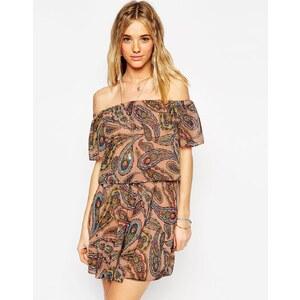 ASOS - Schulterfreies Kleid mit Paisley-Print