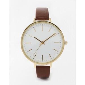 ASOS - Elegante Uhr mit großem Zifferblatt - Braun