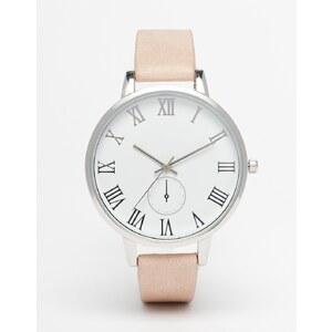ASOS - Uhr mit texturiertem Armband und kleinem Zifferblatt - Rosa