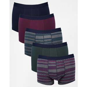 ASOS - Unterhosen mit Ton-in-Ton-Aztekenmuster im 5er-Pack, 28% SPAREN
