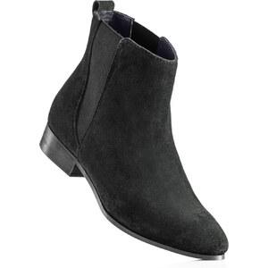 BODYFLIRT Bottines en cuir noir avec 2,5 cm platchaussures & accessoires - bonprix