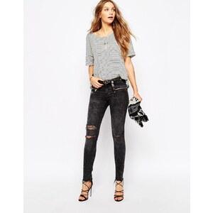 Pimkie - Biker-Jeans in verwaschenem Schwarz mit Zierrissen - Grau