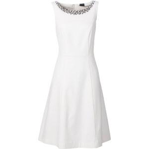 BODYFLIRT Kleid figurbetont in weiß (Rundhals) von bonprix