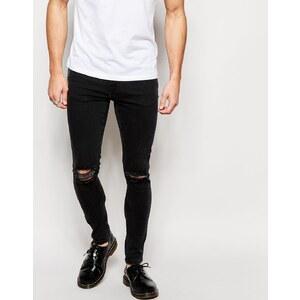 Brooklyn Supply Co. - Sehr enge Jeans in verwaschenem Schwarz mit Zierrissen am Knie - Verwaschenes Schwarz mit Zierrissen