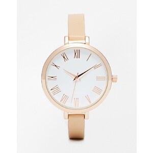 ASOS - Uhr mit großem Zifferblatt und schmalem Armband - Nude