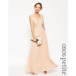 ASOS PETITE - WEDDING - Maxikleid mit tiefem Ausschnitt und Falten - Nude 59,99 €