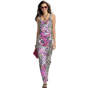 Kleid, Alba Moda, grau /pink, Viskose-Mix, Blumen-Druck in Kombination mit Schlangen-Print